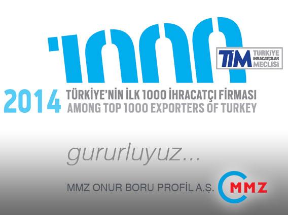 MMZ, находится в списке первых 1000 фирм по экспорту в Турции.